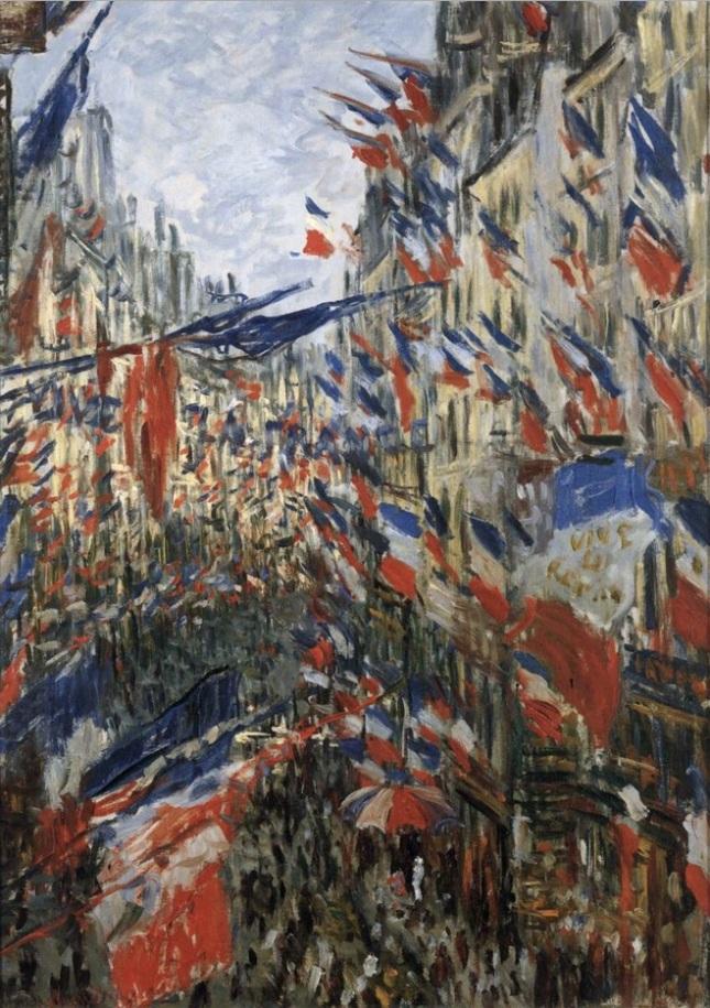 La calle Montorgueil con banderas