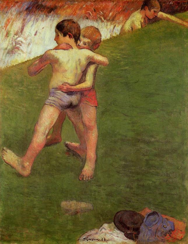 Chicos bretones luchando