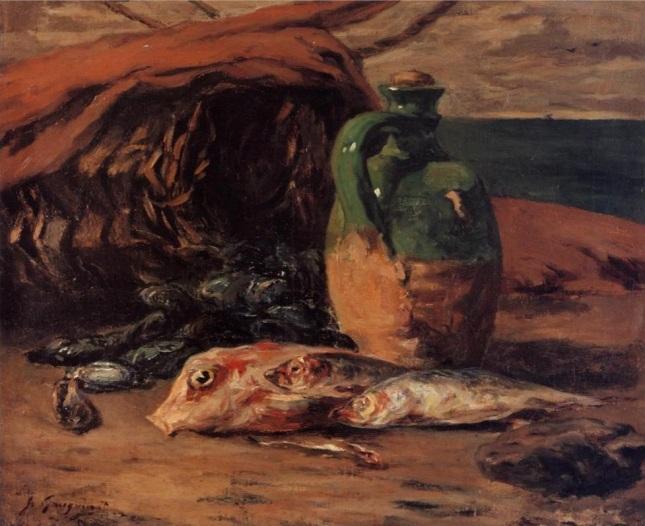Naturaleza muerta con salmonetes y jarra