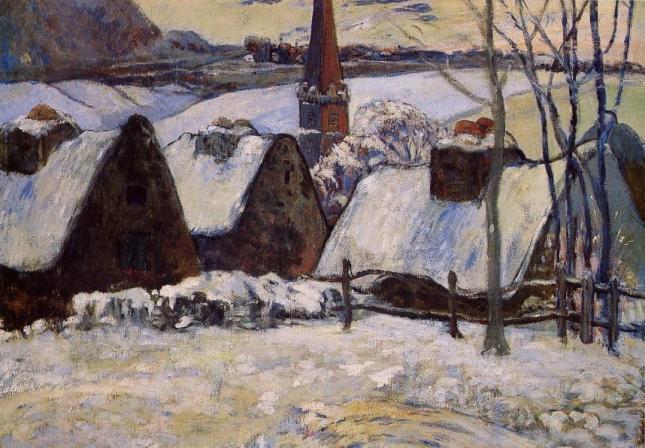 Pueblo bretón bajo la nieve