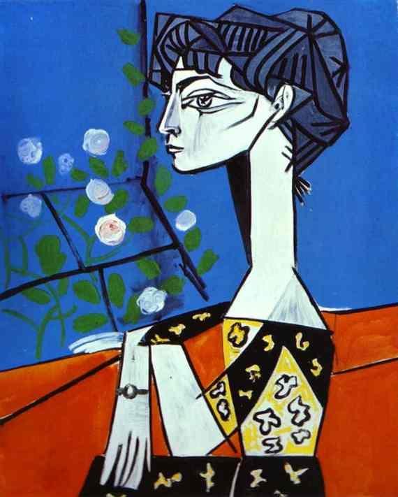 Retrato de Jacqueline con flores