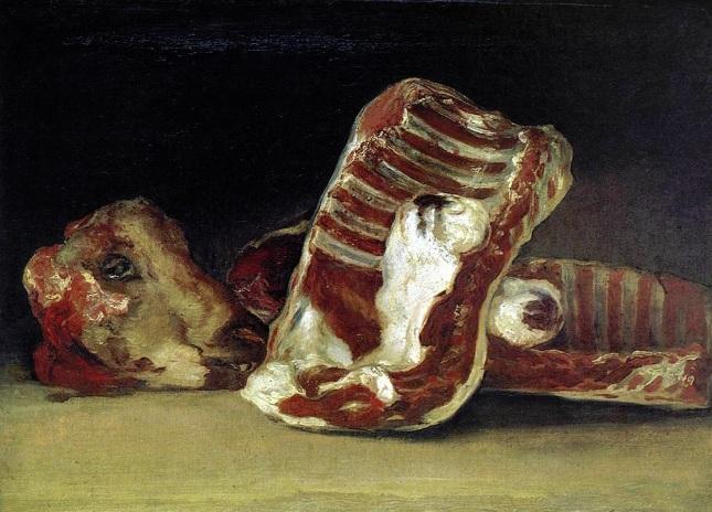 Bodegón con costillas y cabeza de cordero