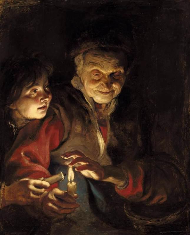 Anciana con joven y vela