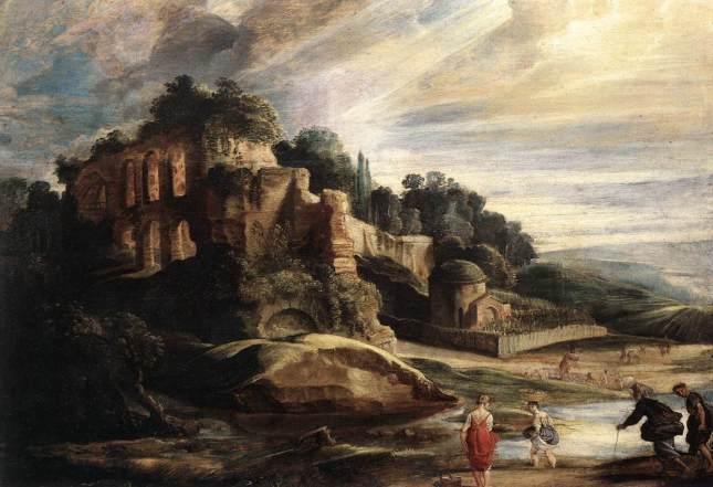 Paisaje con las ruinas del Monte Palatino en Roma