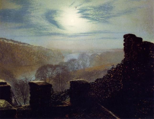 Luna llena tras cirros desde las almenas del Castillo de Roundhay Park
