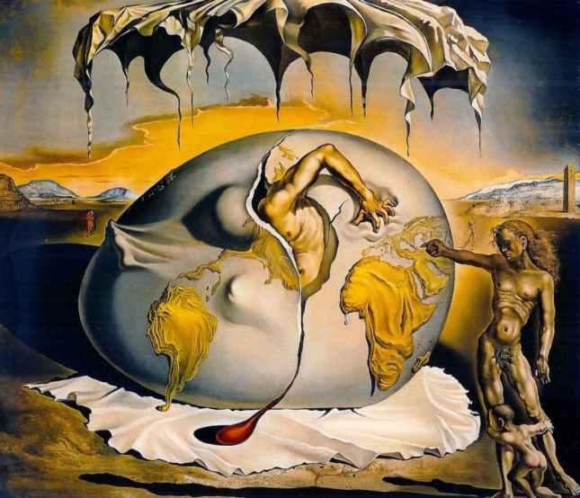 Niño geopolítico observando el nacimiento del hombre nuevo