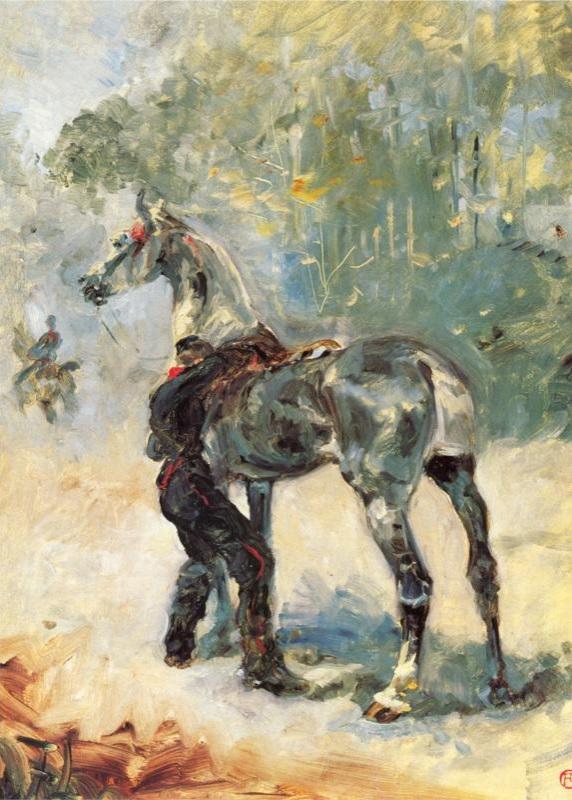 Artillero ensillando su caballo