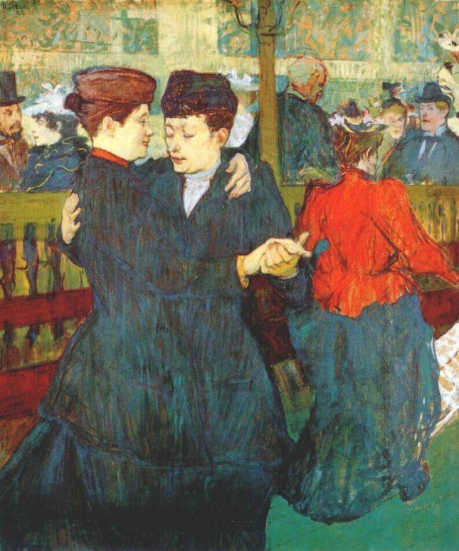 En el Moulin Rouge, dos mujeres bailando