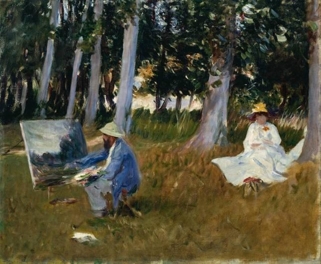 Claude pintando en la linde del bosque