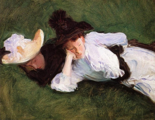 Dos chicas en la hierba