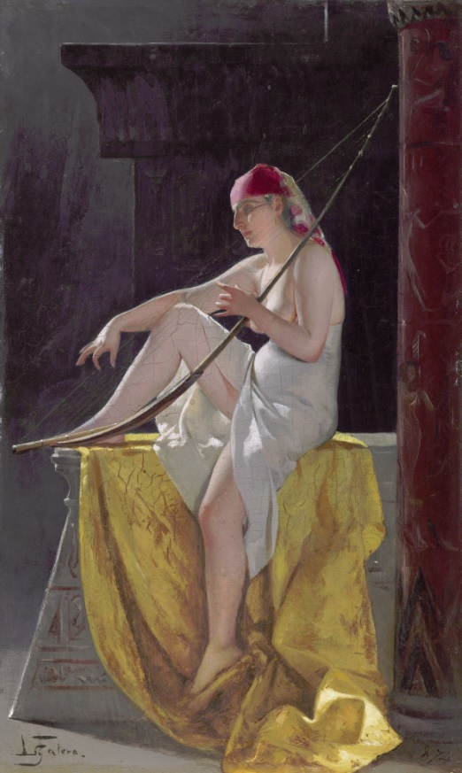 Mujer egipcia con harpa