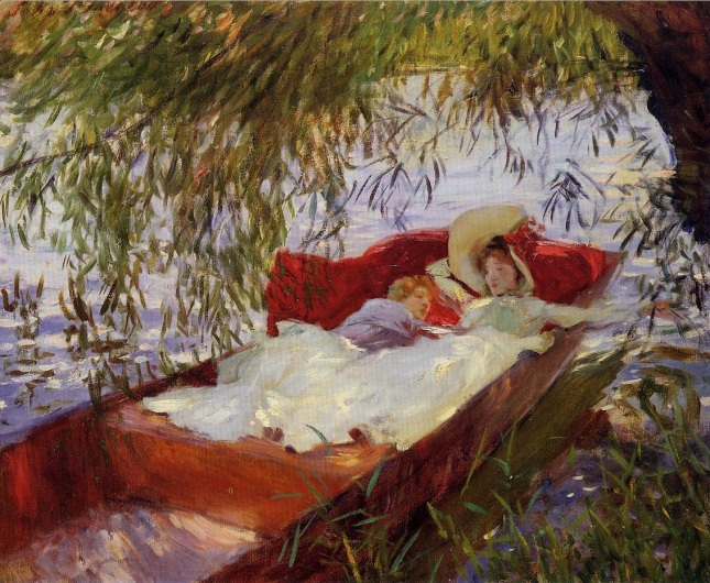 Dos mujeres dormidas en una barca bajo los sauces