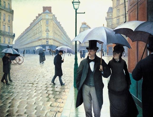 Calle de París día lluvioso