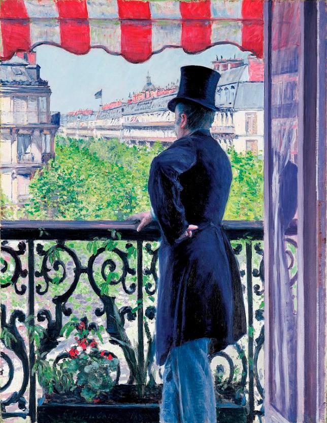 Hombre en el balcón - Bulevar Haussmann