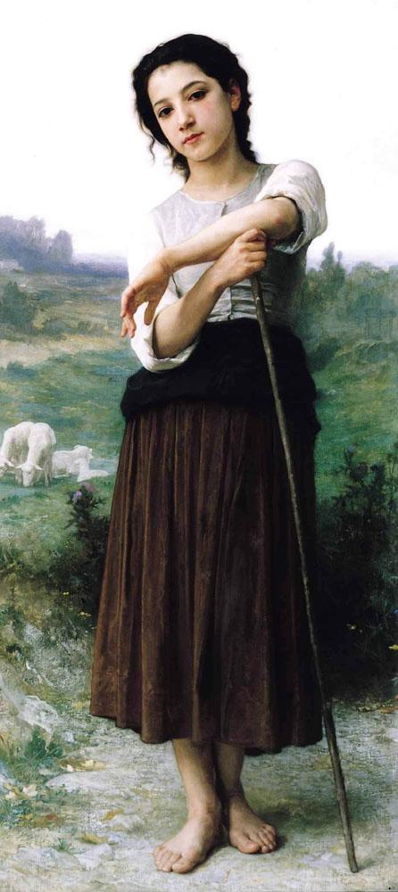 Joven pastora de pie