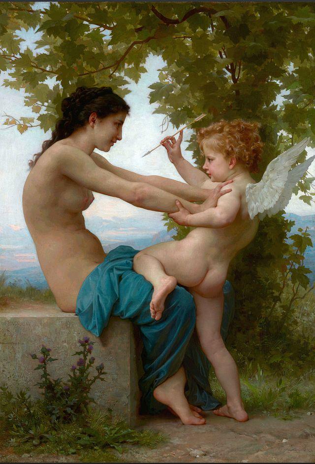 Muchacha defendiéndose de Eros