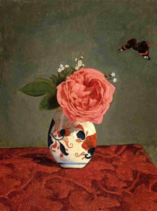 Rosa en jarrón