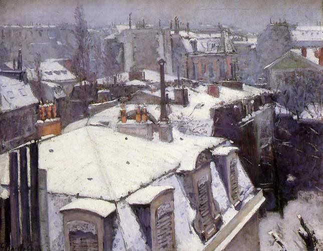 Vista sobre los tejados - Efecto de nieve