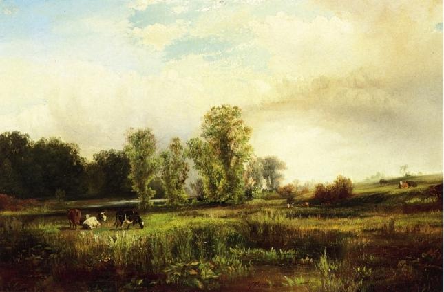 Paisaje de verano con vacas