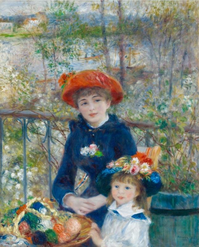 Dos hermanas en la terraza