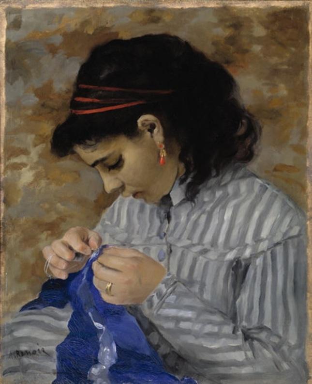 Lise cosiendo