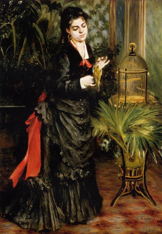 Mujer con loro