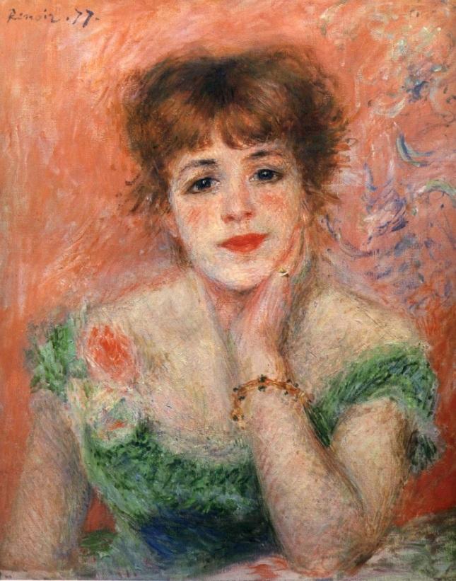 Retrato de Jeanne Samary con vestido de cuello bajo