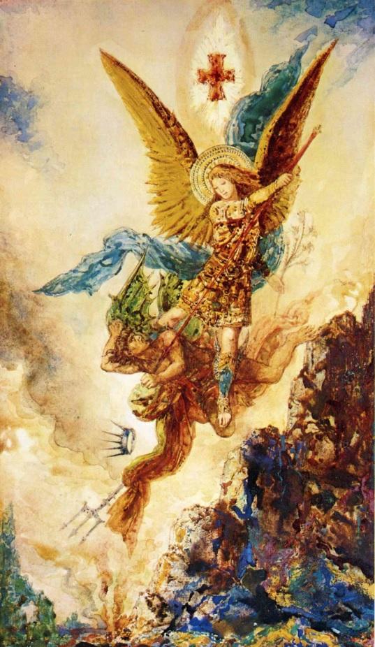 San Miguel derrotando a Satán
