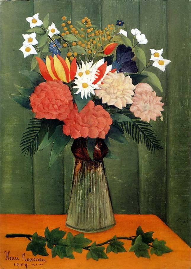 Bouquet de flores con rama de hiedra