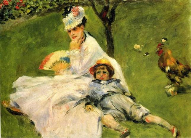 Camille Monet y su hijo Jean en el jardín de Argenteuil