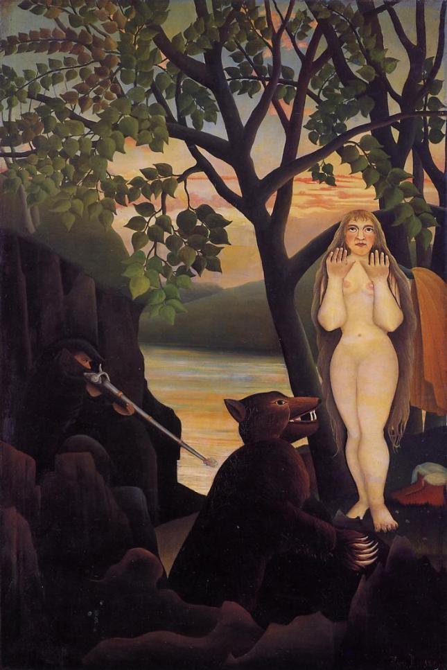 Mujer desnuda y oso
