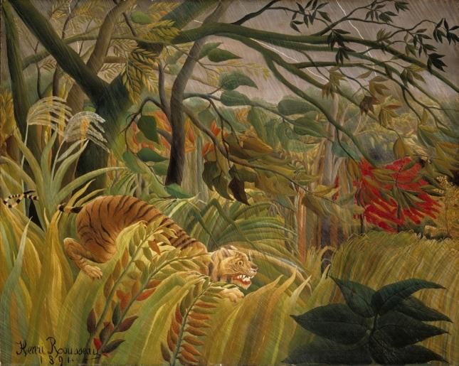 Tigre en una tormenta tropical