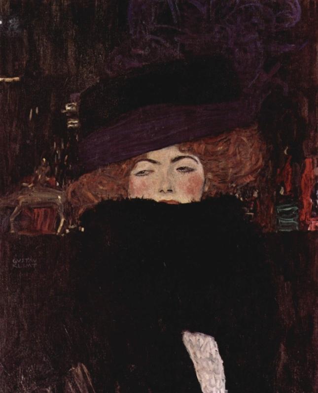 Dama con sombrero y boa de plumas