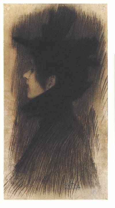 Muchacha de perfil con sombrero y capa