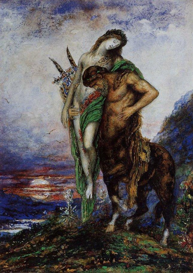 Poeta muerto transportado por un centauro