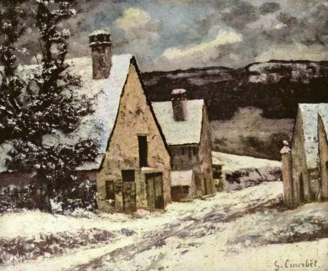 Calle de un pueblo en invierno