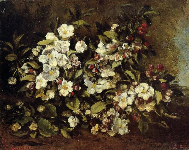 Rama con flores de manzano