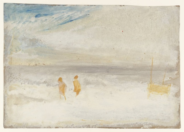 Dos figuras en la playa con un bote