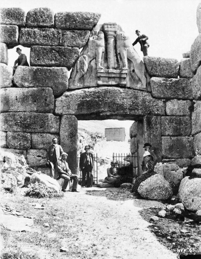 Puerta de los Leones de Micenas (Circa 1885)