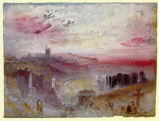 Vista de la ciudad al atardecer, cementerio en primer plano