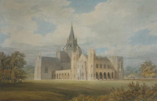 Vista en perspectiva de la Abadía Fonthill desde el Sudoeste