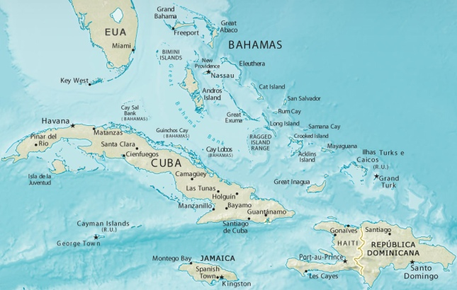 Mapa de Las Bahamas
