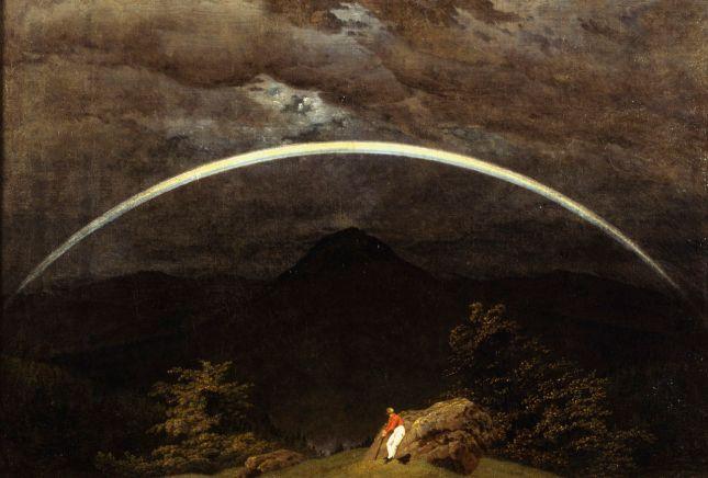 Arco iris en un paisaje de montañas