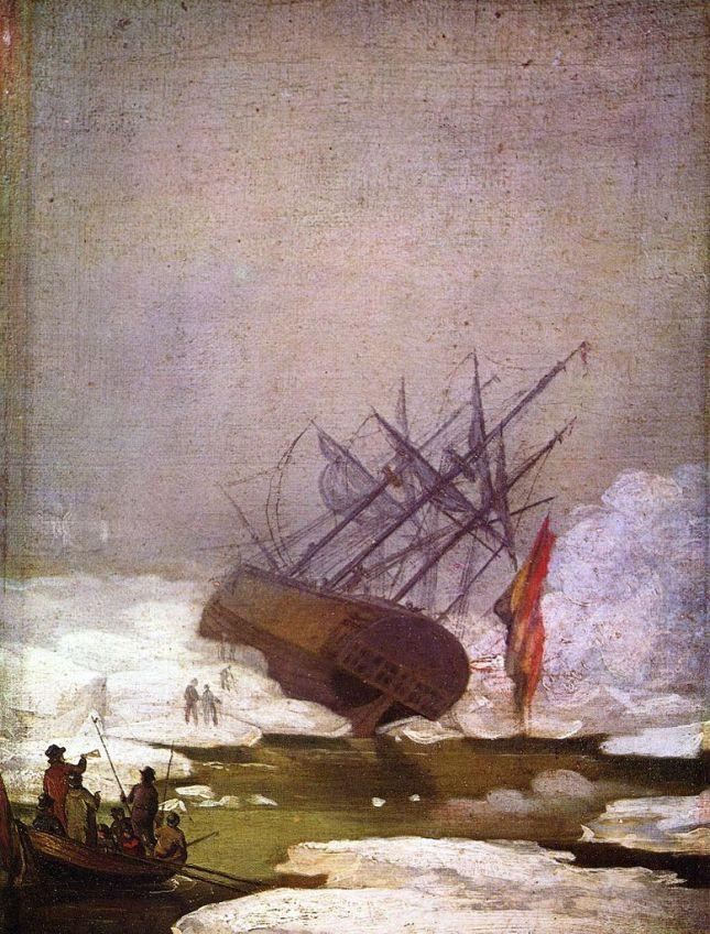 Barco naufragado en el océano glacial