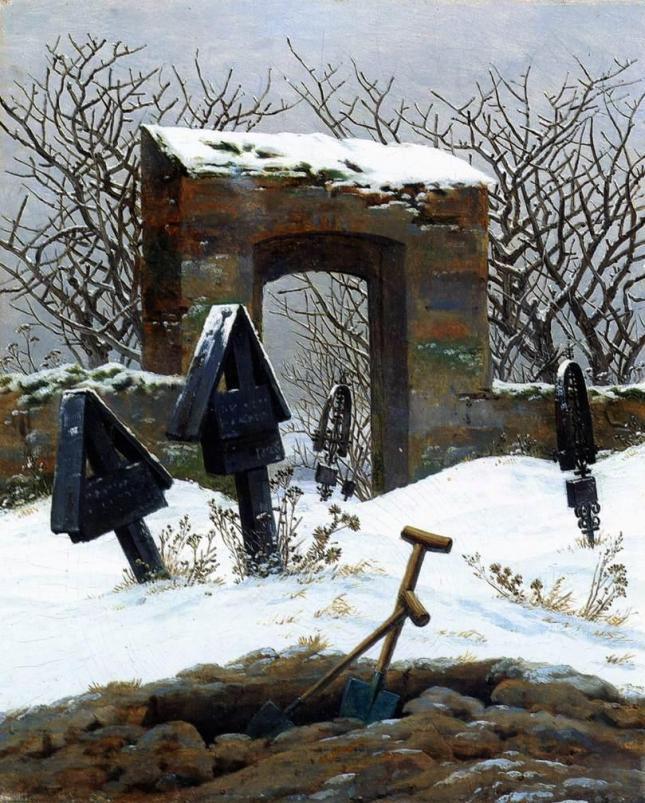 Cementerio bajo la nieve