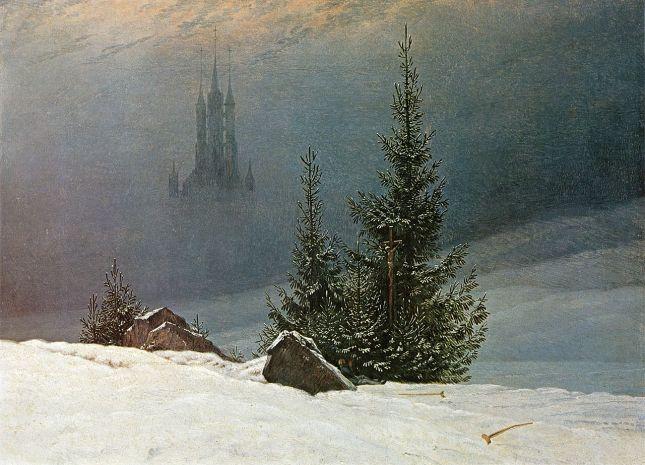 Paisaje de invierno con iglesia