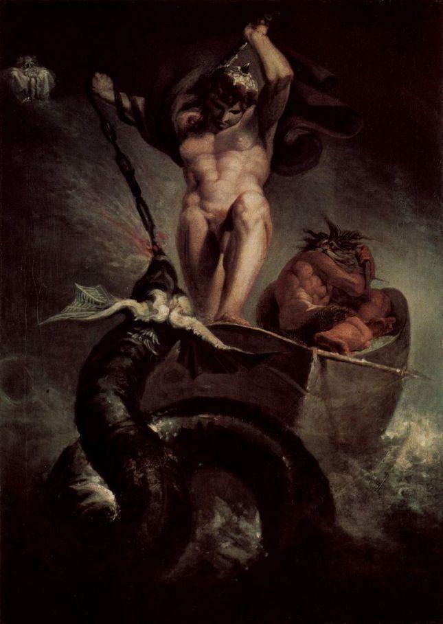 Johann Heinrich Füssli - Thor luchando contra la serpiente marina