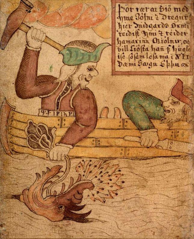 Thoyr y Hymir luchando contra la gran serpiente (Siglo XVIII)