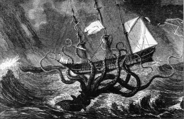 Kraken atacando un barco