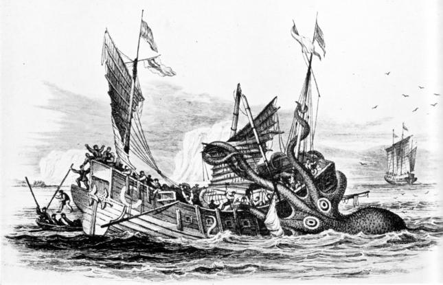 Pulpo gigante atacando una nave mercante